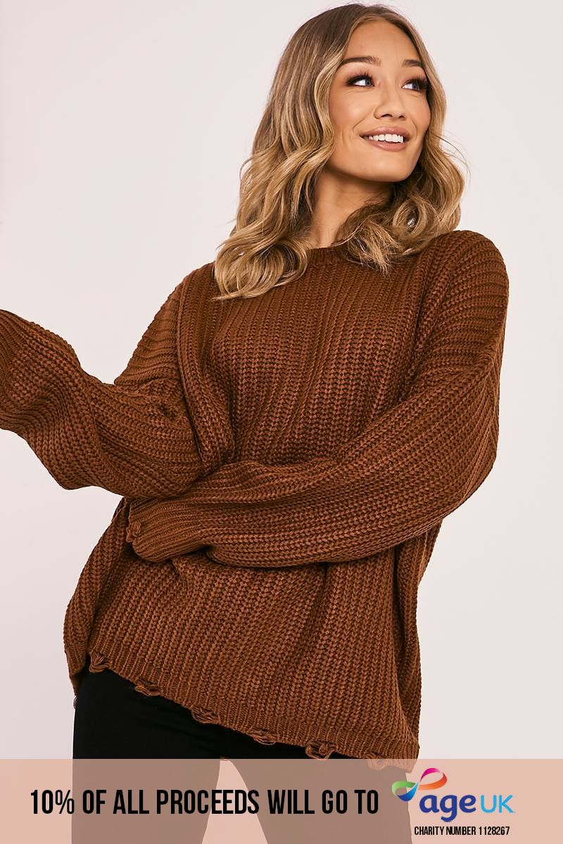 rust distressed oversized knitted jumper