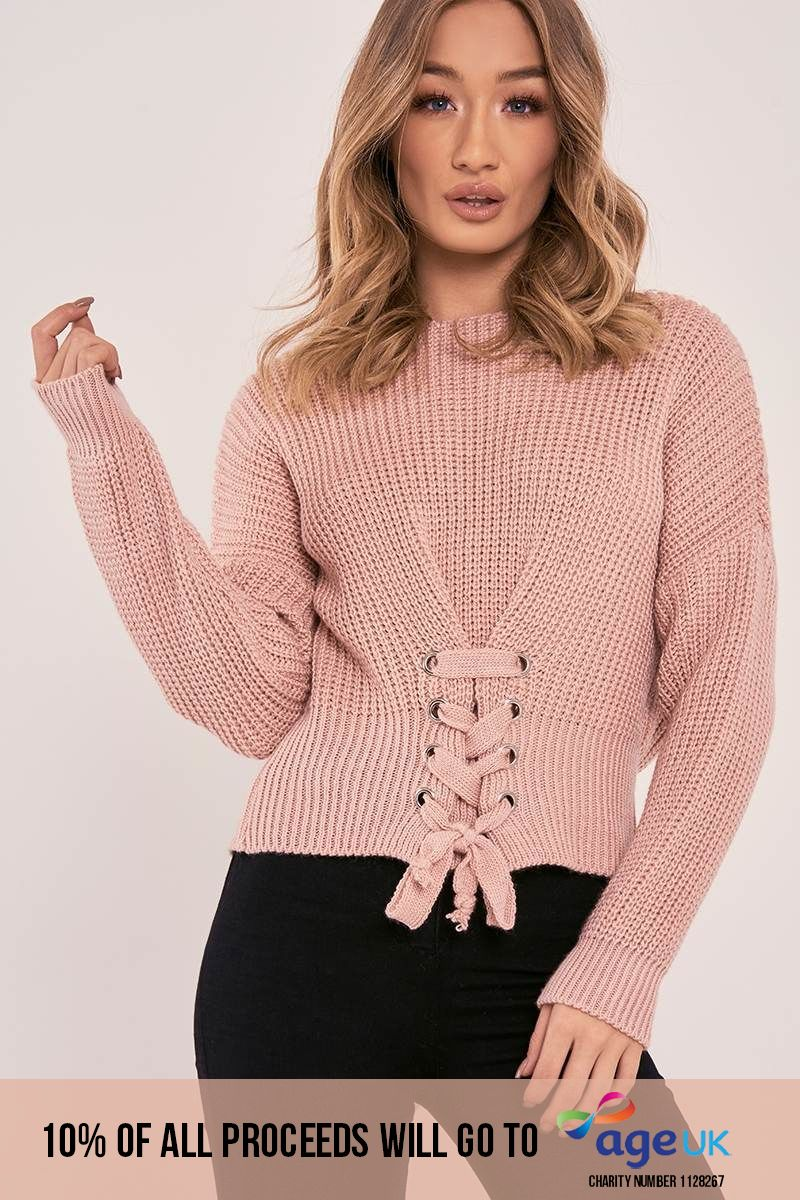 pink lace up knitted jumper