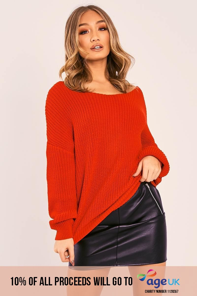 red twist back knitted jumper