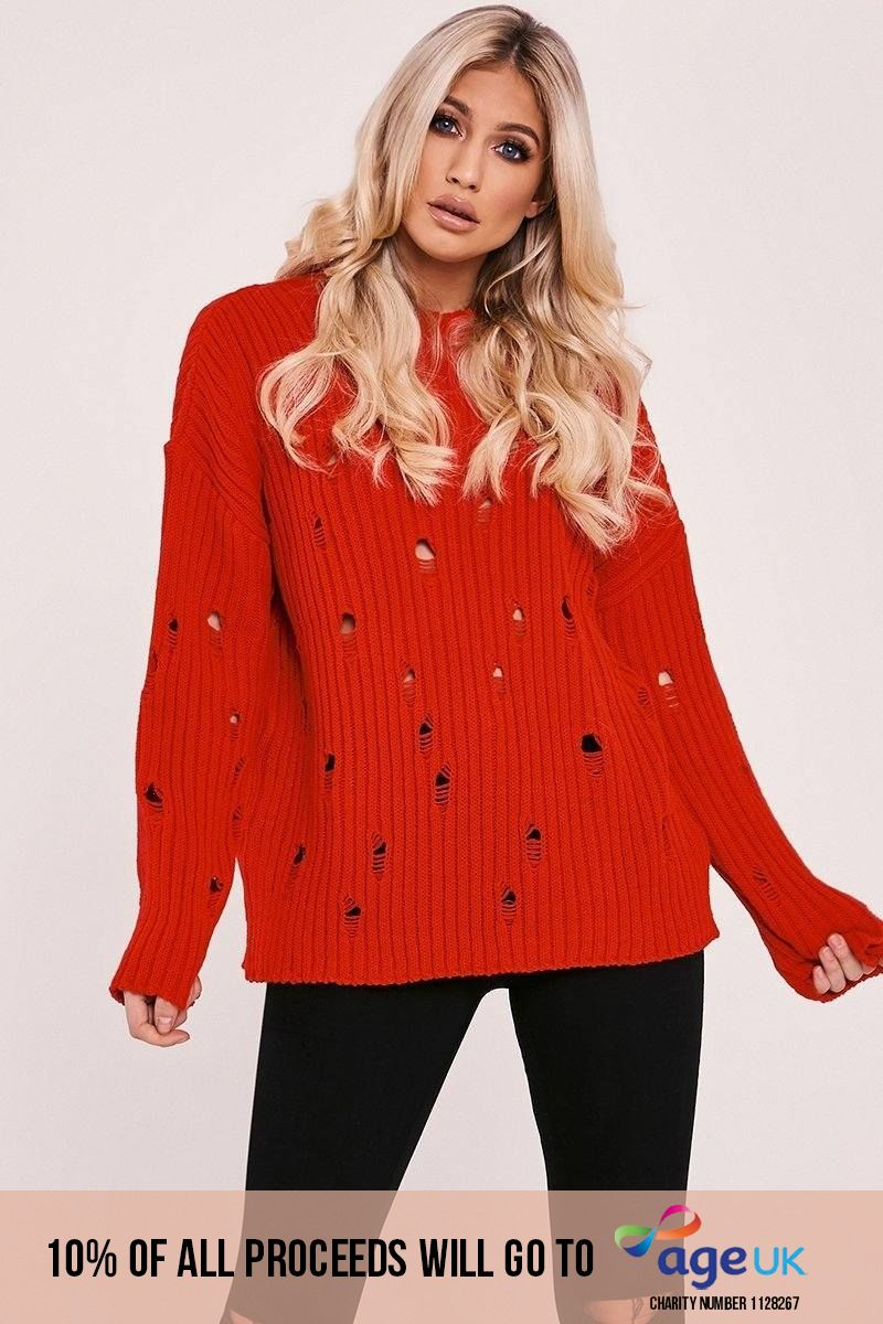 red distressed oversized jumper