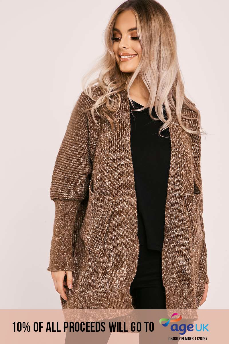 brown knitted cardigan