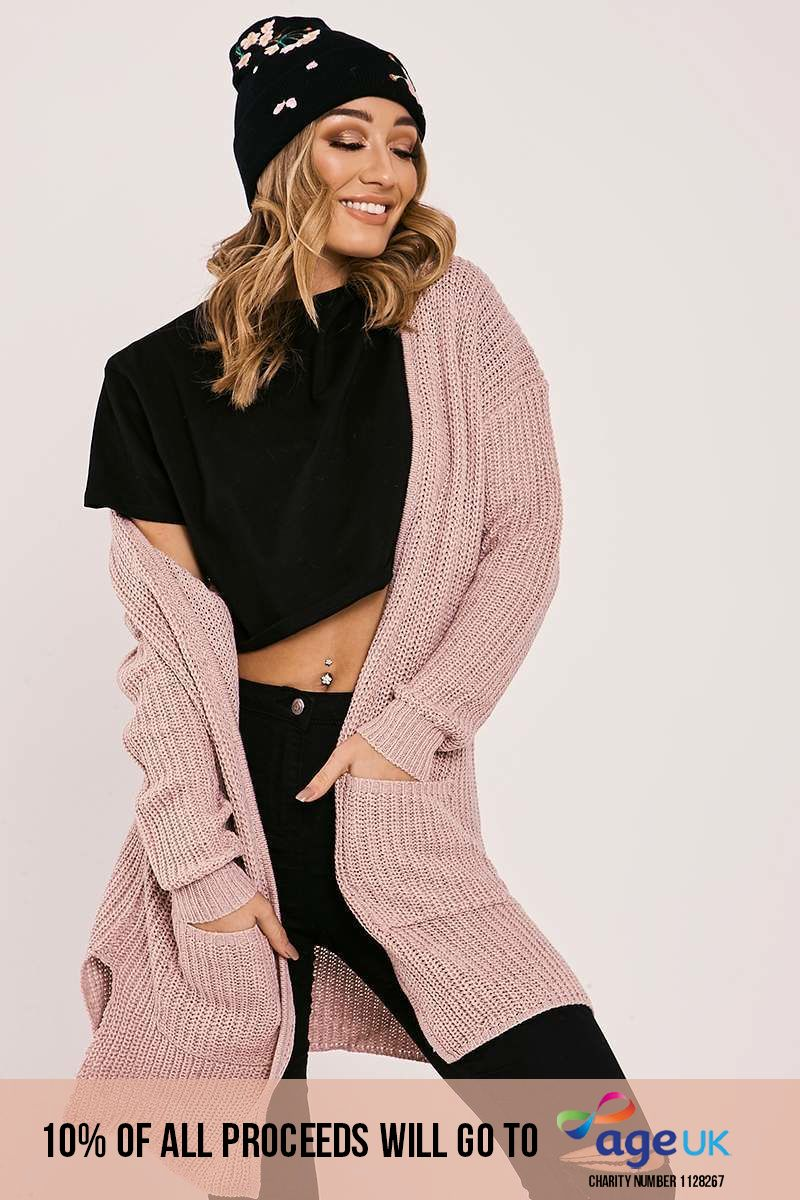 pink knitted longline cardigan