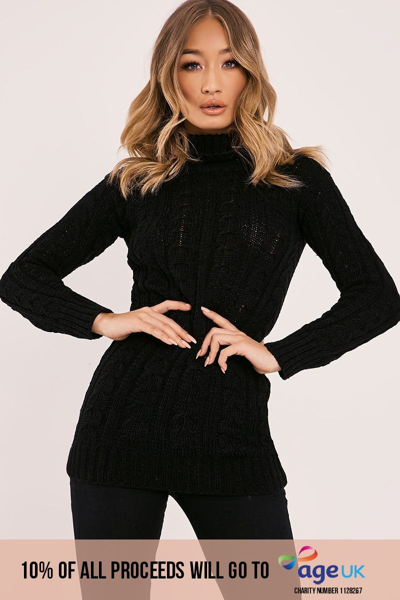 black cable knitted high neck jumper