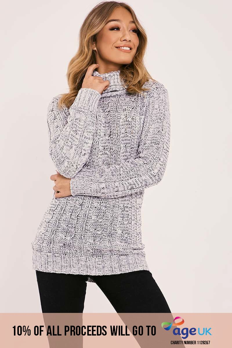 grey cable knitted high neck jumper