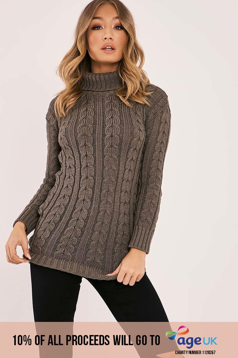 MYLIE KHAKI CABLE KNITTED HIGH NECK JUMPER