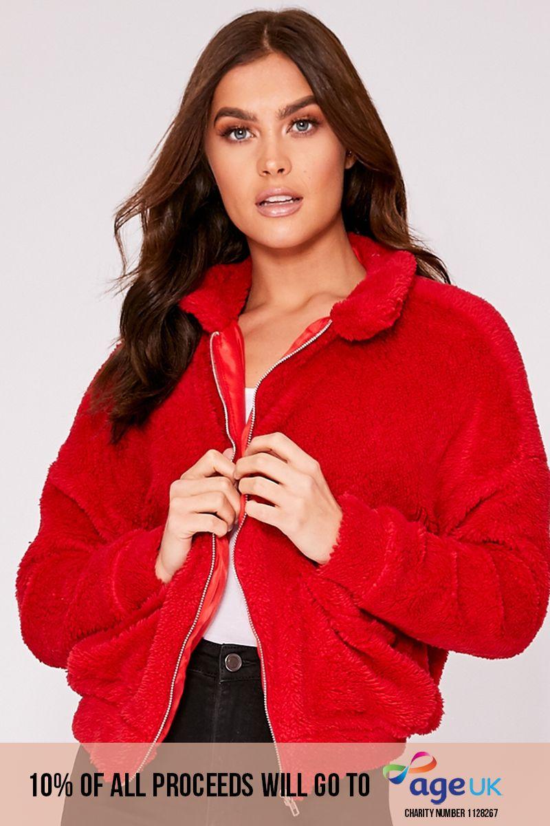 red teddy fur bomber jacket