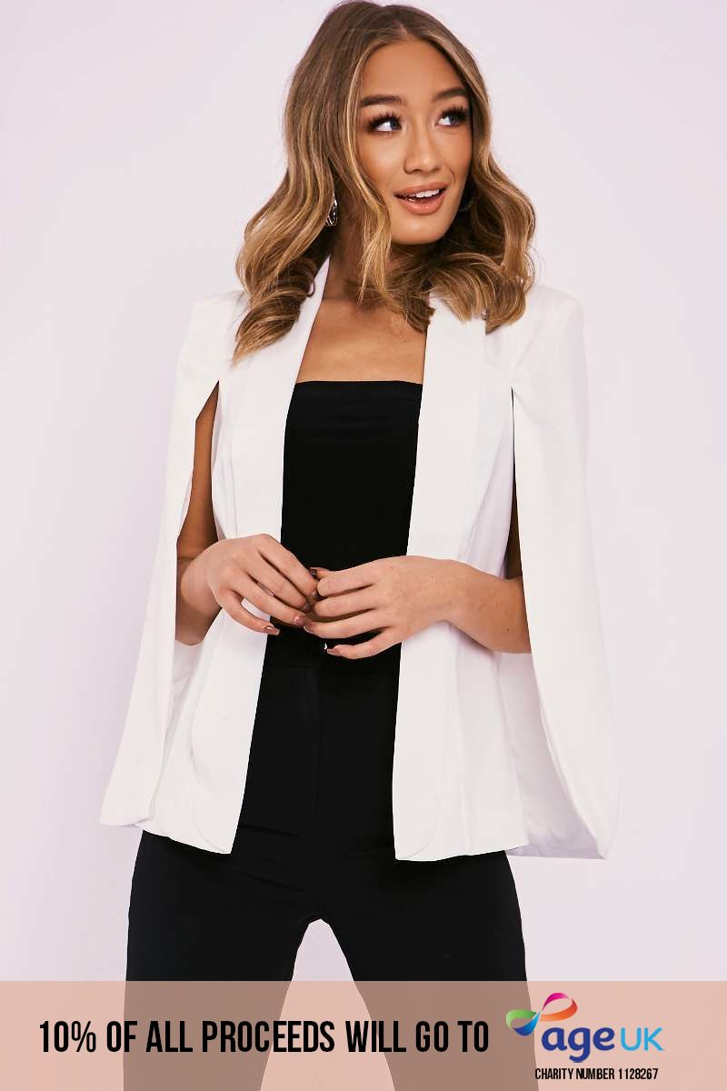 cream cape blazer