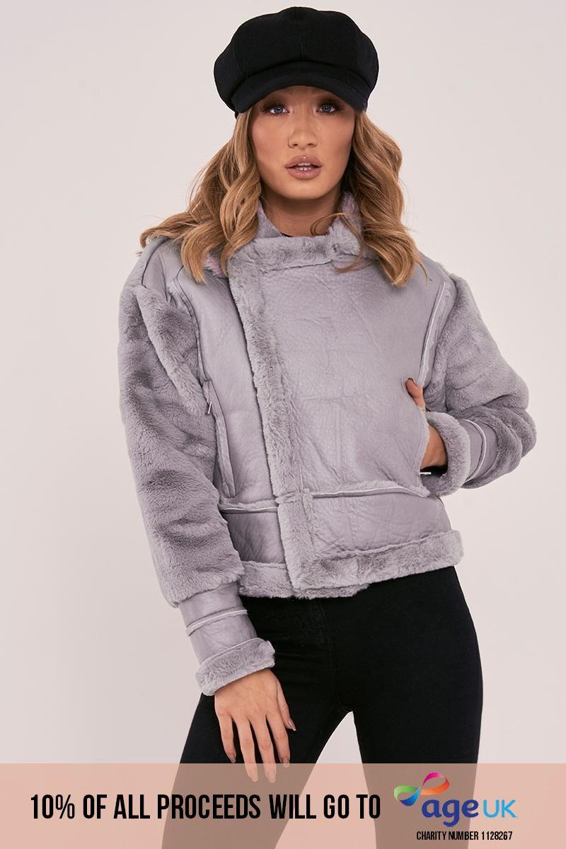 grey faux fur lined aviator jacket