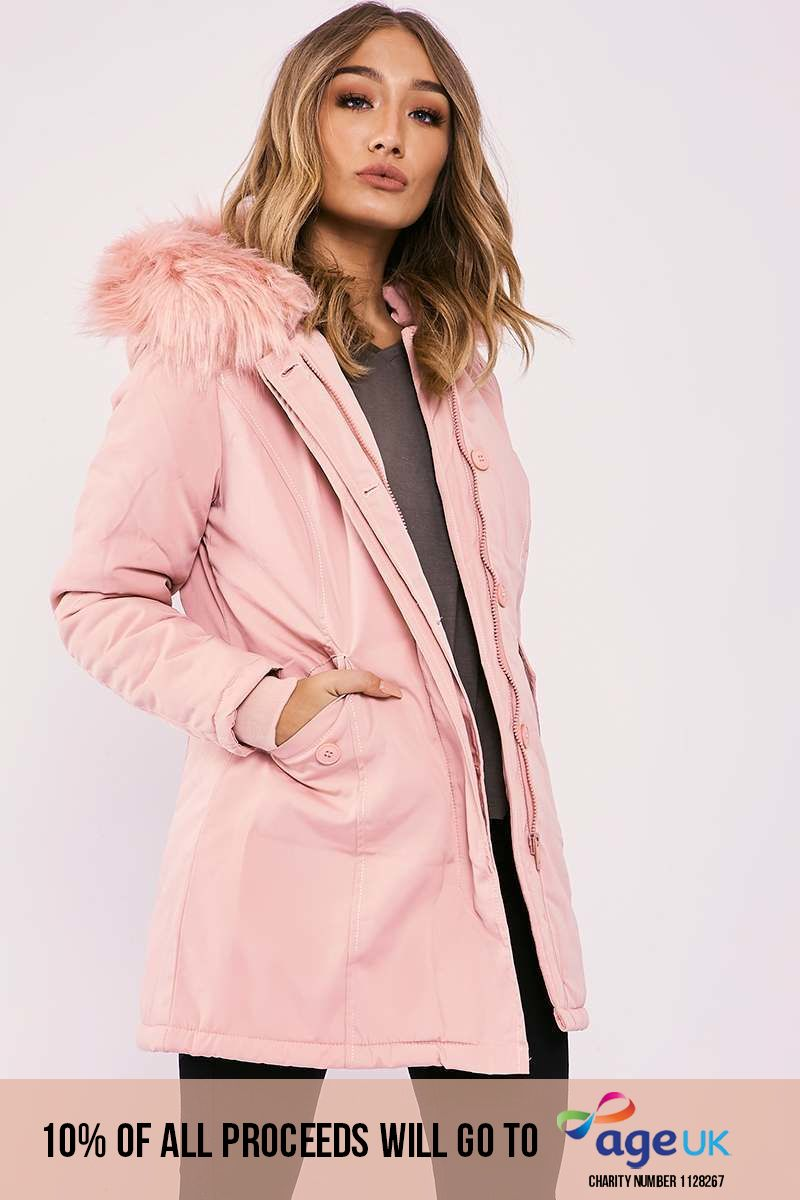 pink faux fur hooded parka jacket