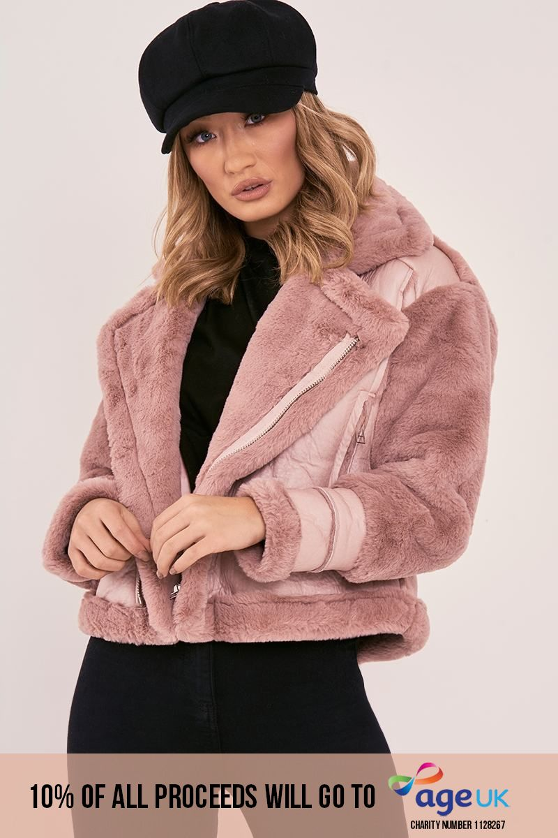 pink faux fur lined aviator jacket