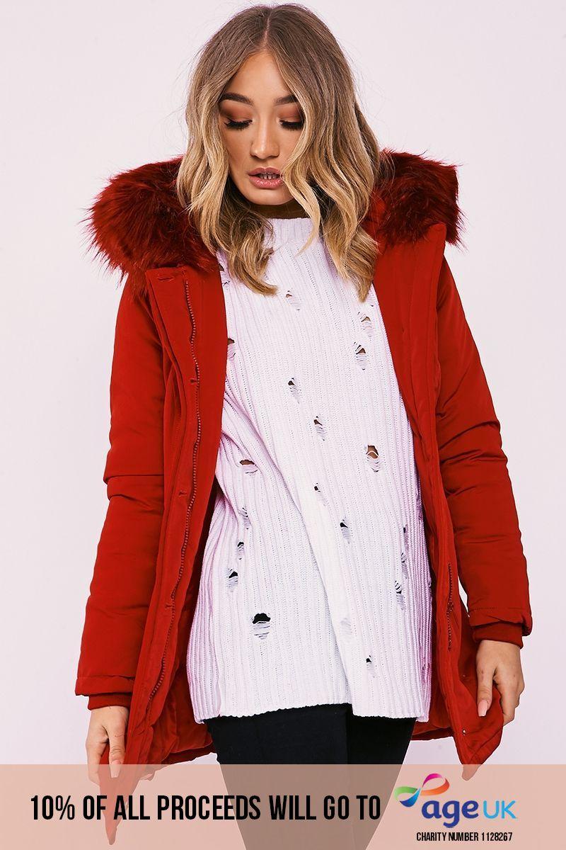 red faux fur hooded parka jacket
