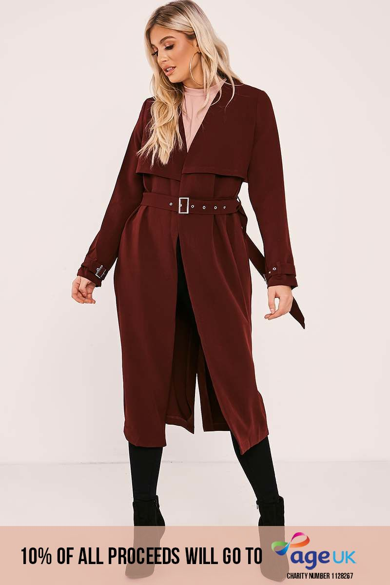 burgundy belted duster jacket