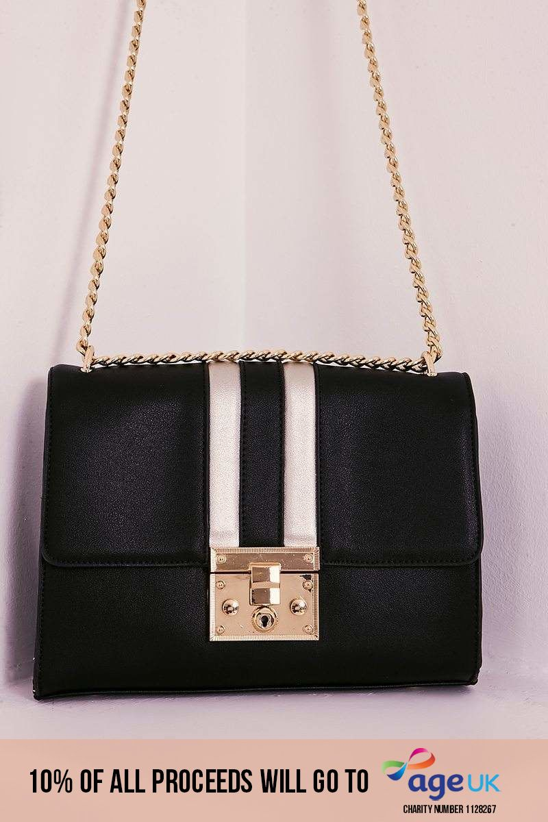 BLACK FAUX LEATHER CONTRAST STRIPE BAG