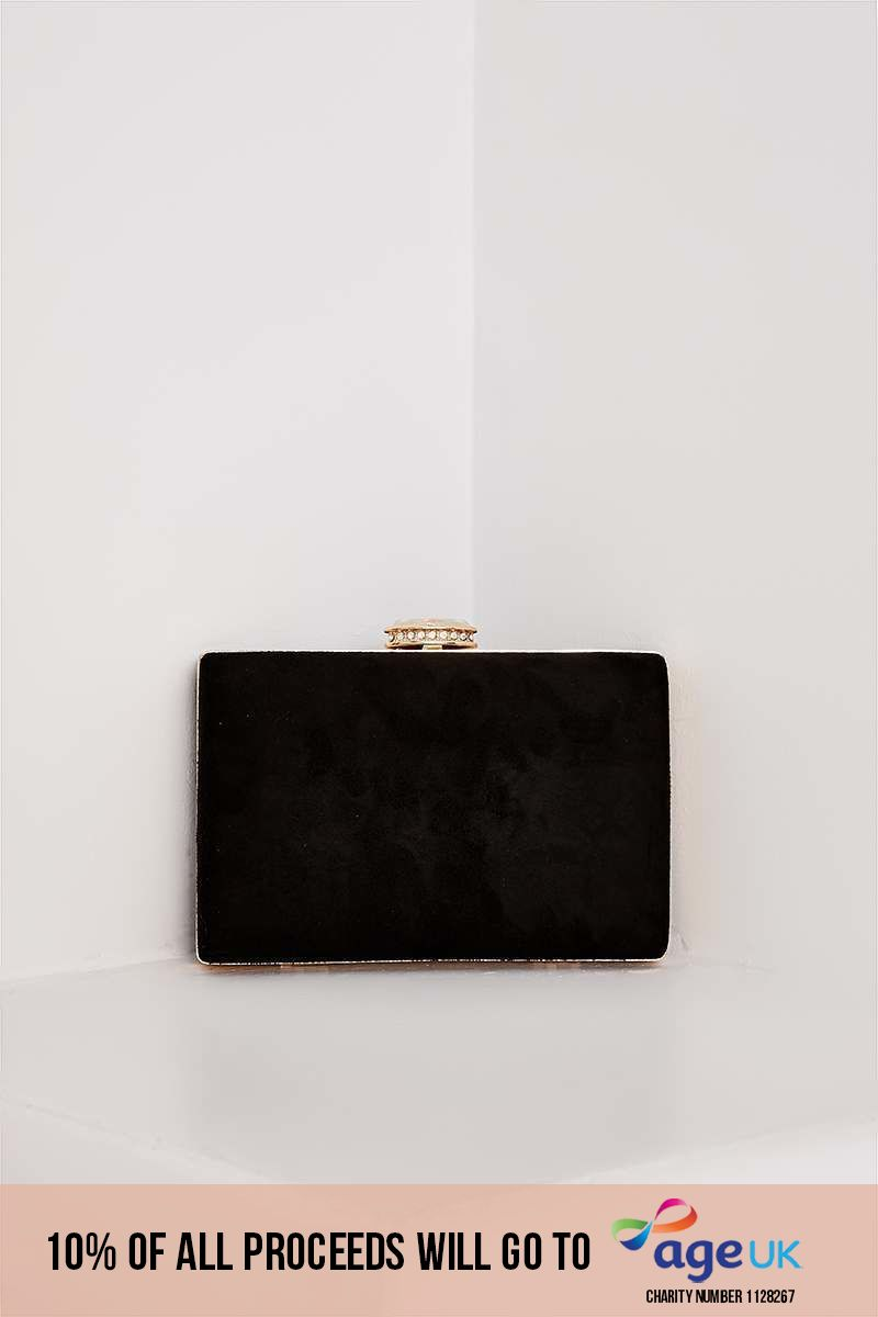 BLACK FAUX SUEDE HARD CLUTCH BAG