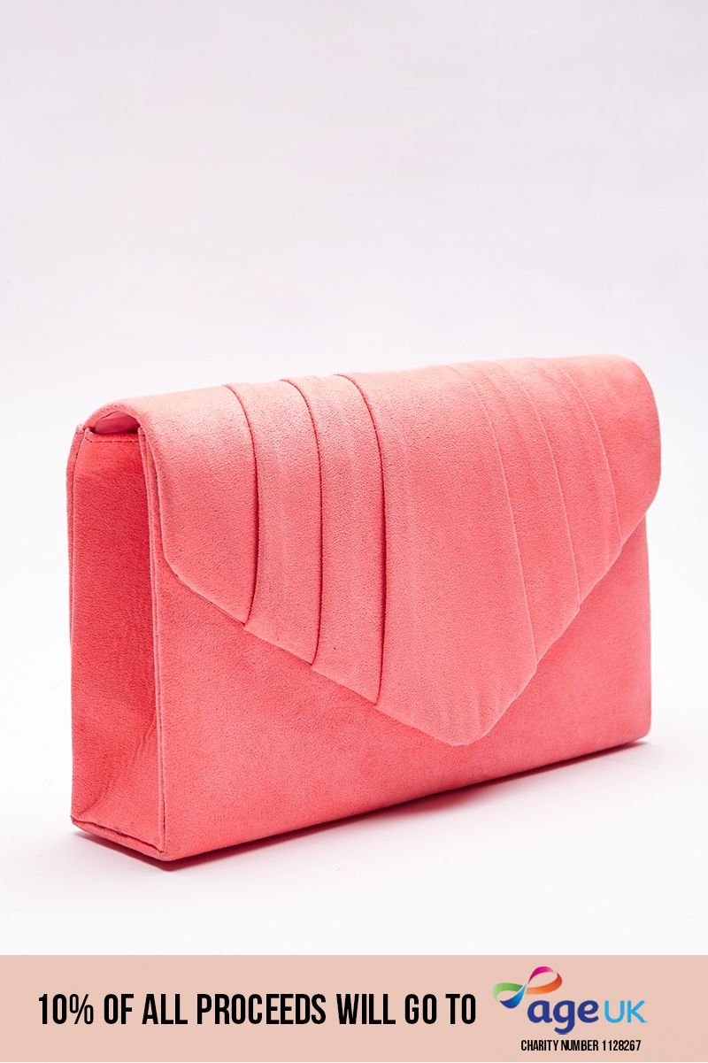 faux suede fold over clutch bag
