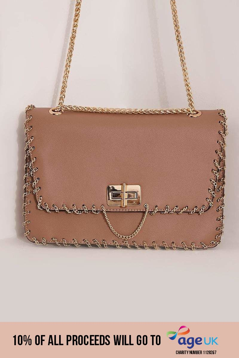 PINK FAUX LEATHER CHAIN TRIM ENVELOPE BAG