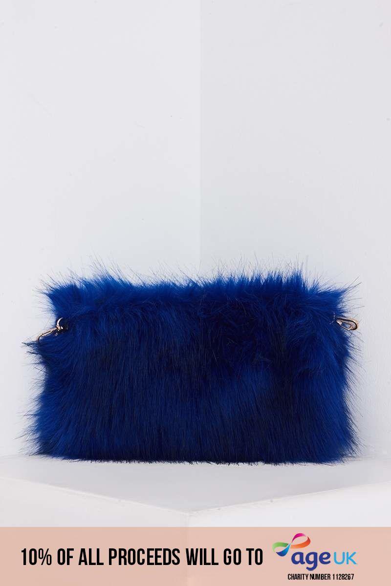 COBALT BLUE FAUX FUR BAG
