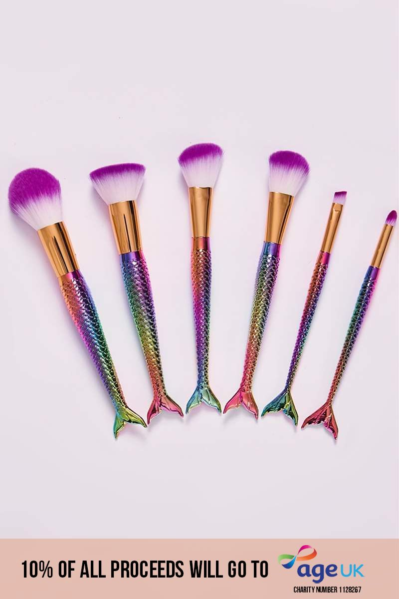 RAINBOW MERMAID 6 PIECE MAKE UP BRUSH SET