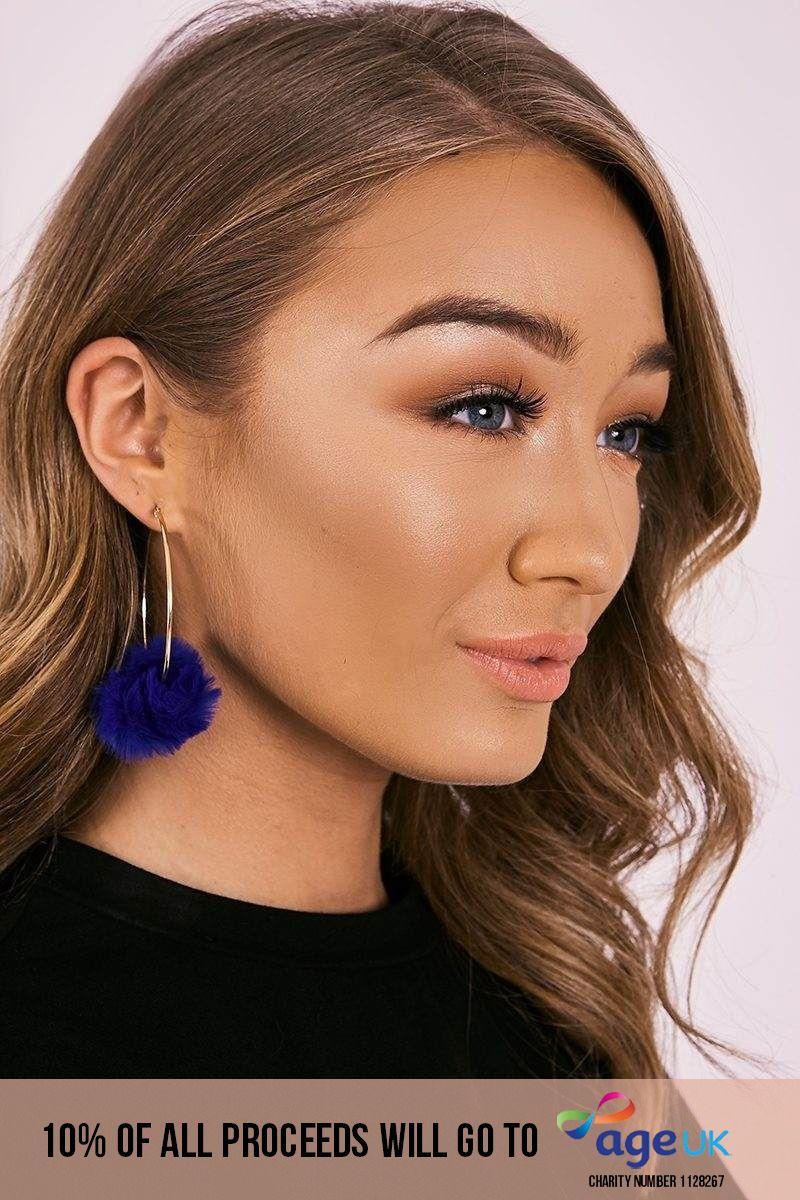 COBALT BLUE POM POM HOOP EARRINGS
