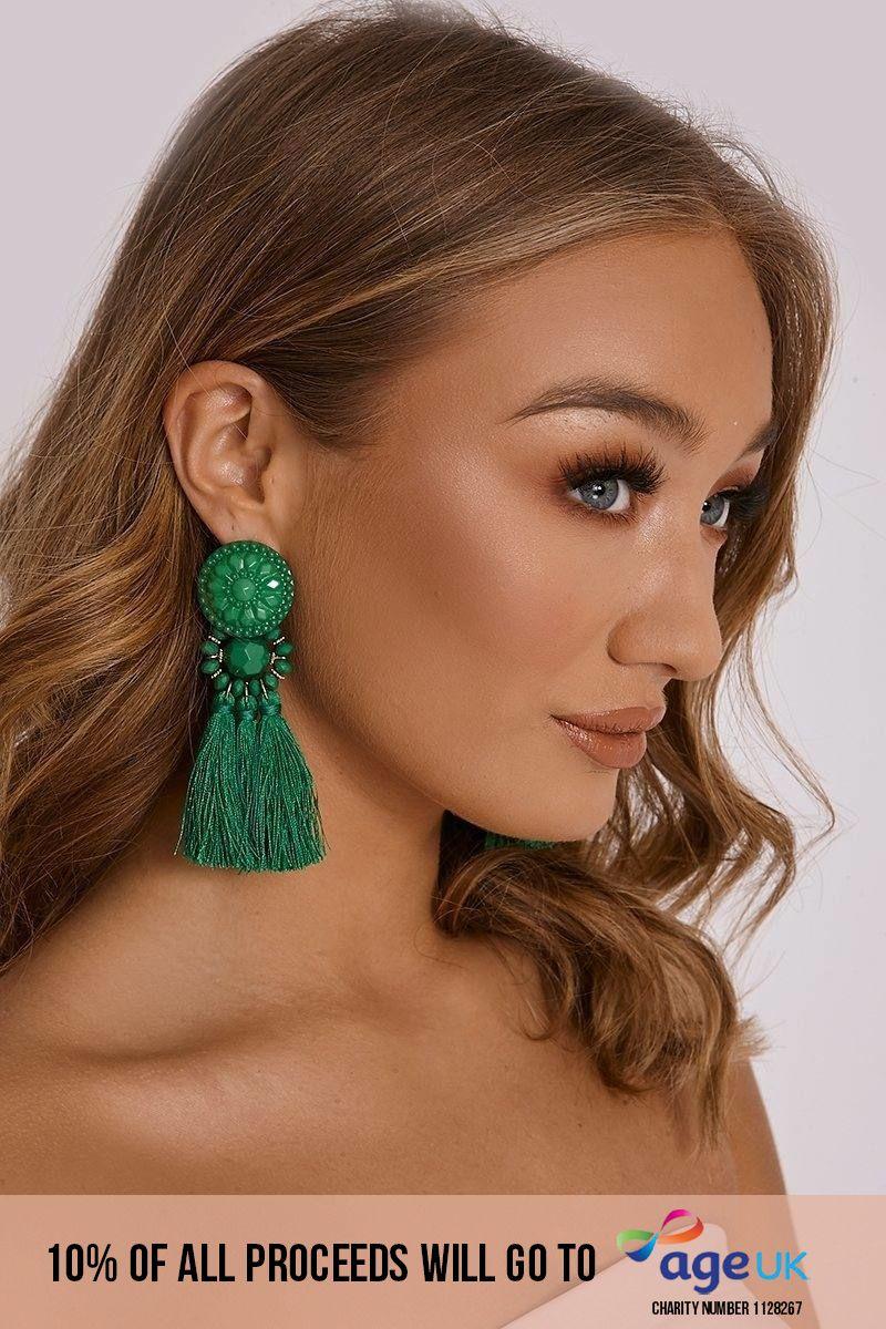 GREEN ART DECO TASSEL EARRINGS