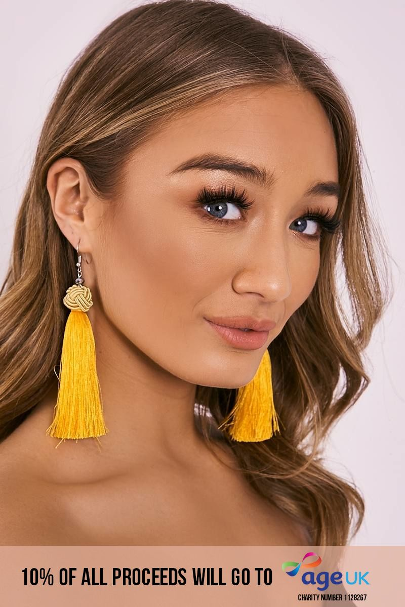 MUSTARD KNOT TASSEL EARRINGS