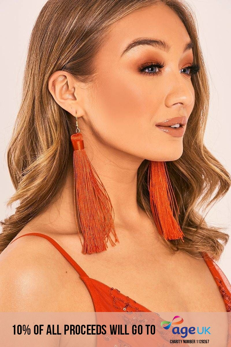RED EXTREME TASSEL EARRINGS