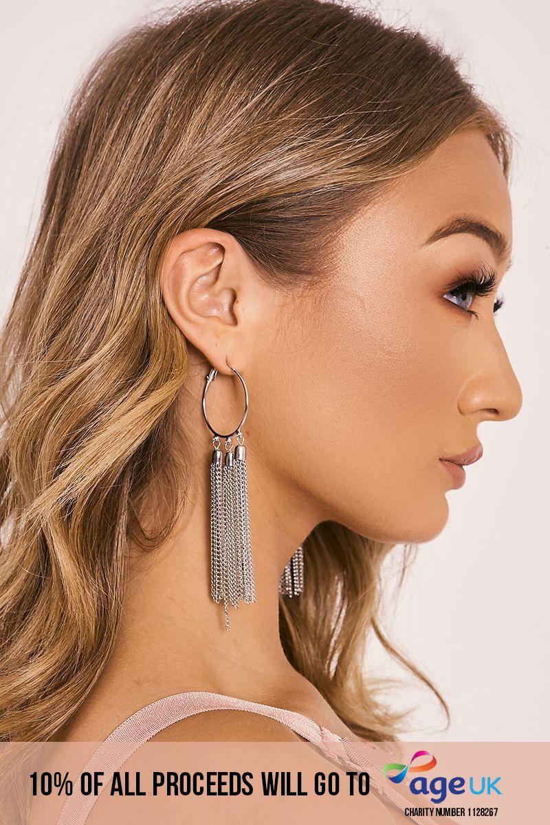 SILVER TASSEL DROP HOOP EARRINGS