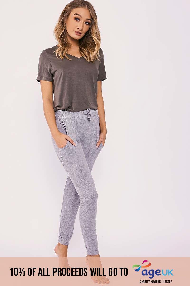 grey jersey drawstring waist pyjama bottoms