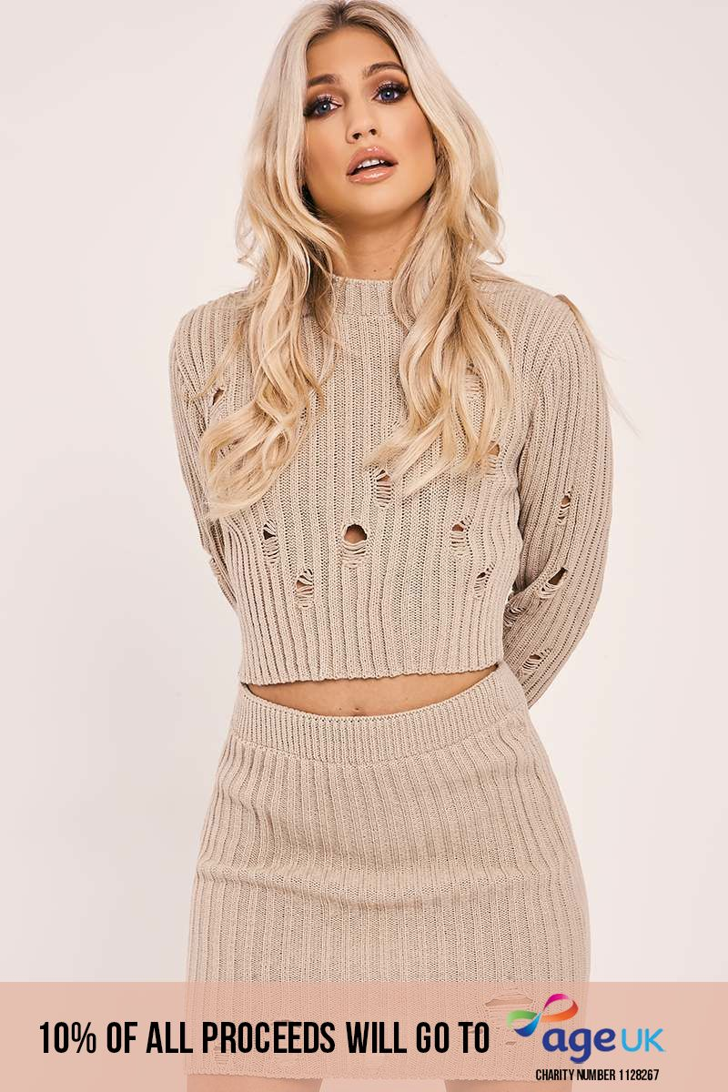 stone distressed knit top and skirt