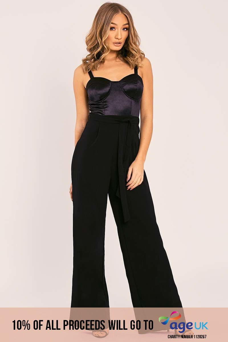 black satin cupped contrast belted palazzo jumpsuit