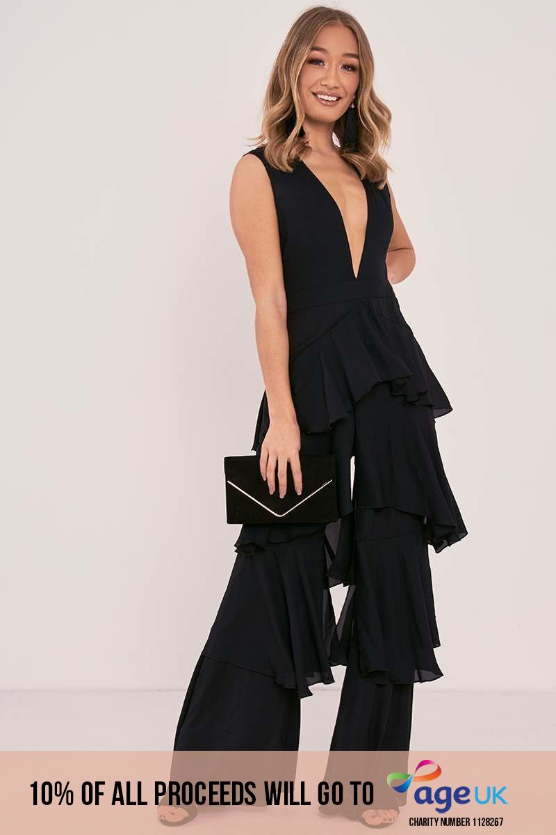 SHERRY BLACK PLUNGE TIERED RUFFLE JUMPSUIT