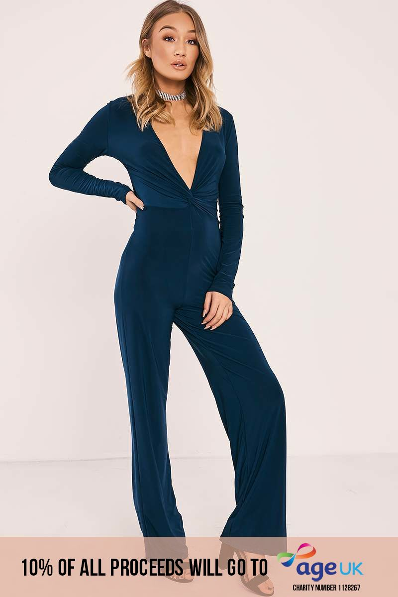 green slinky twist knot front jumpsuit
