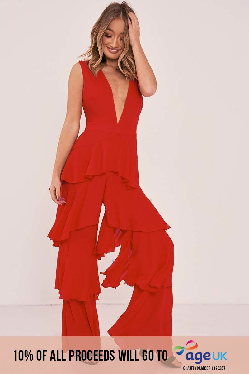 red plunge tiered ruffle jumpsuit