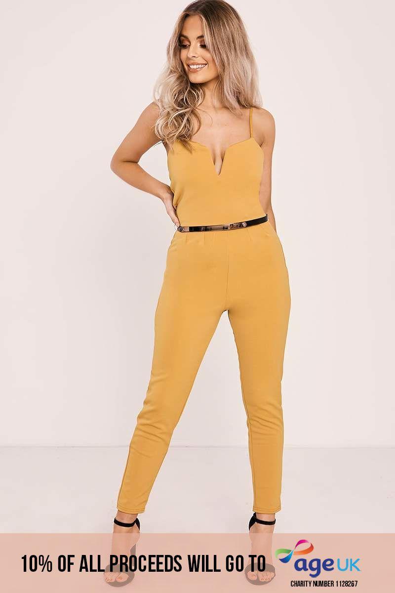 mustard v plunge belted jumpsuit