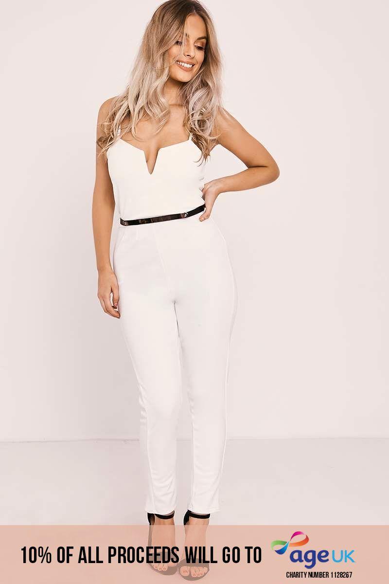white v plunge belted jumpsuit