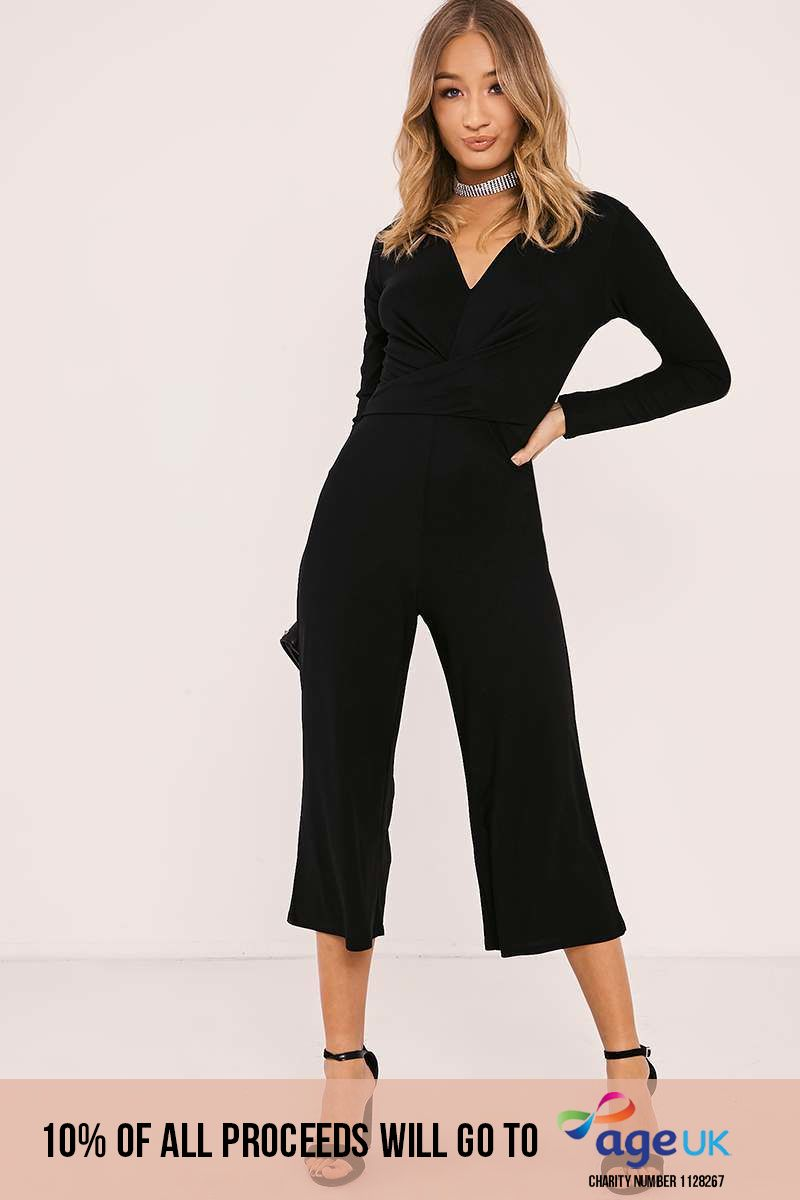 black wrap front culotte jumpsuit