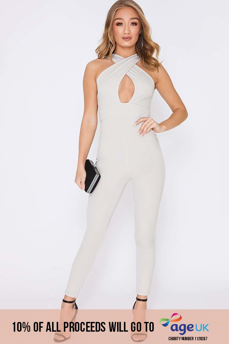 grey cross over front jumpsuit