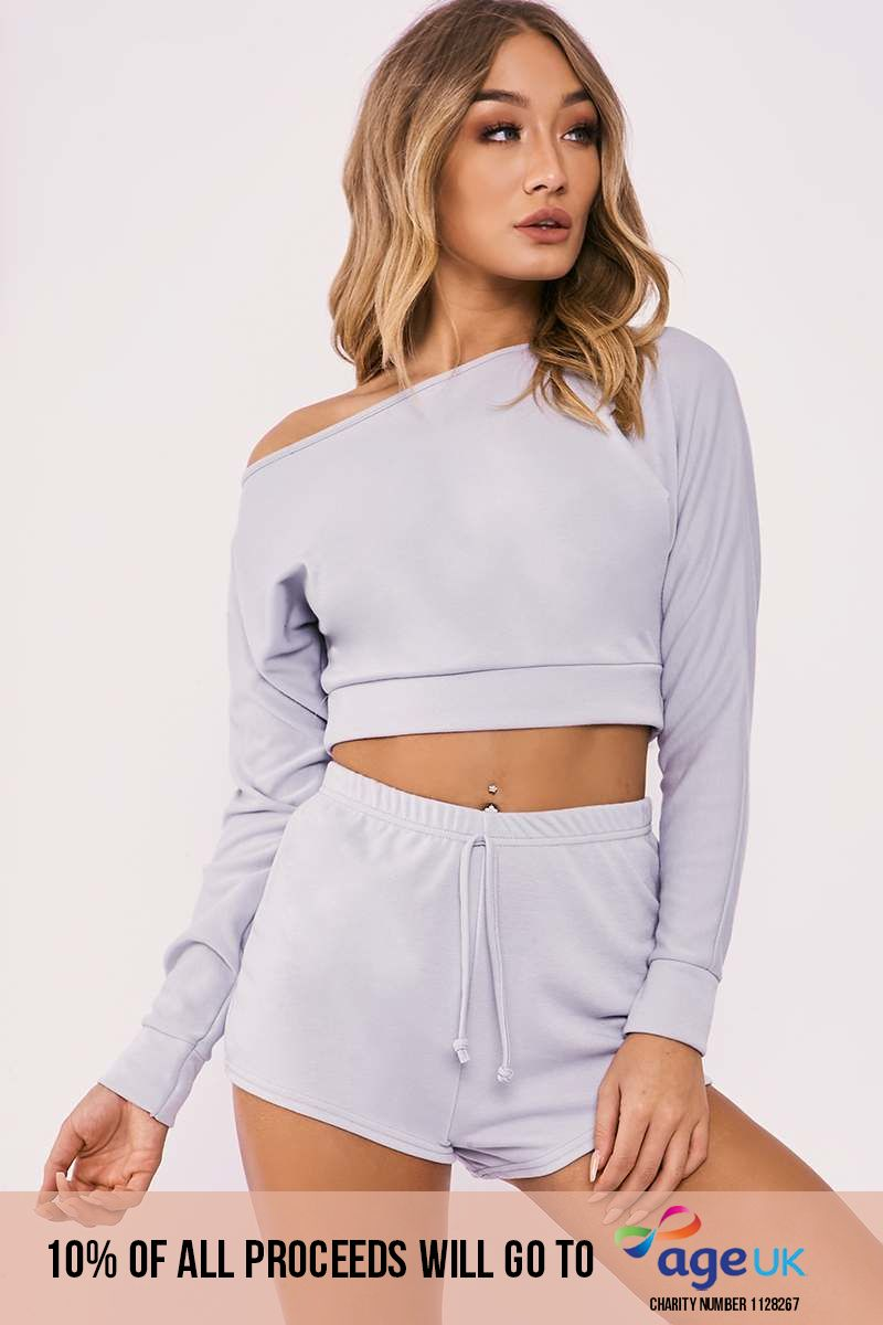 grey one shoulder top and shorts lounge set