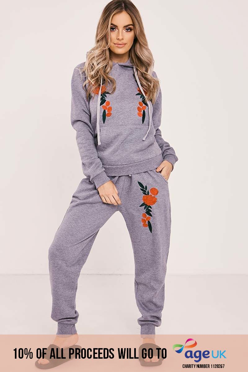 grey marl floral embroidered hooded loungewear set