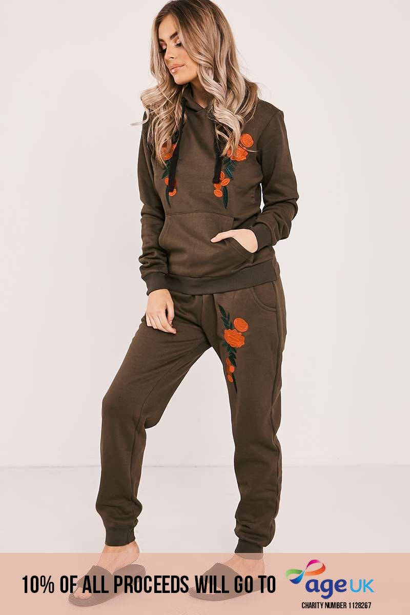 khaki floral embroidered hooded loungewear set