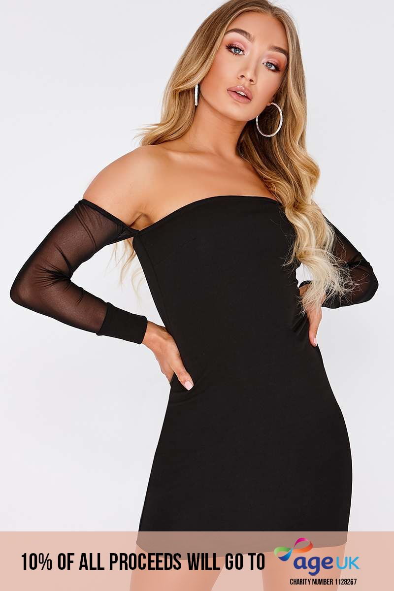 MISHKA BLACK MESH SLEEVES BARDOT MINI DRESS