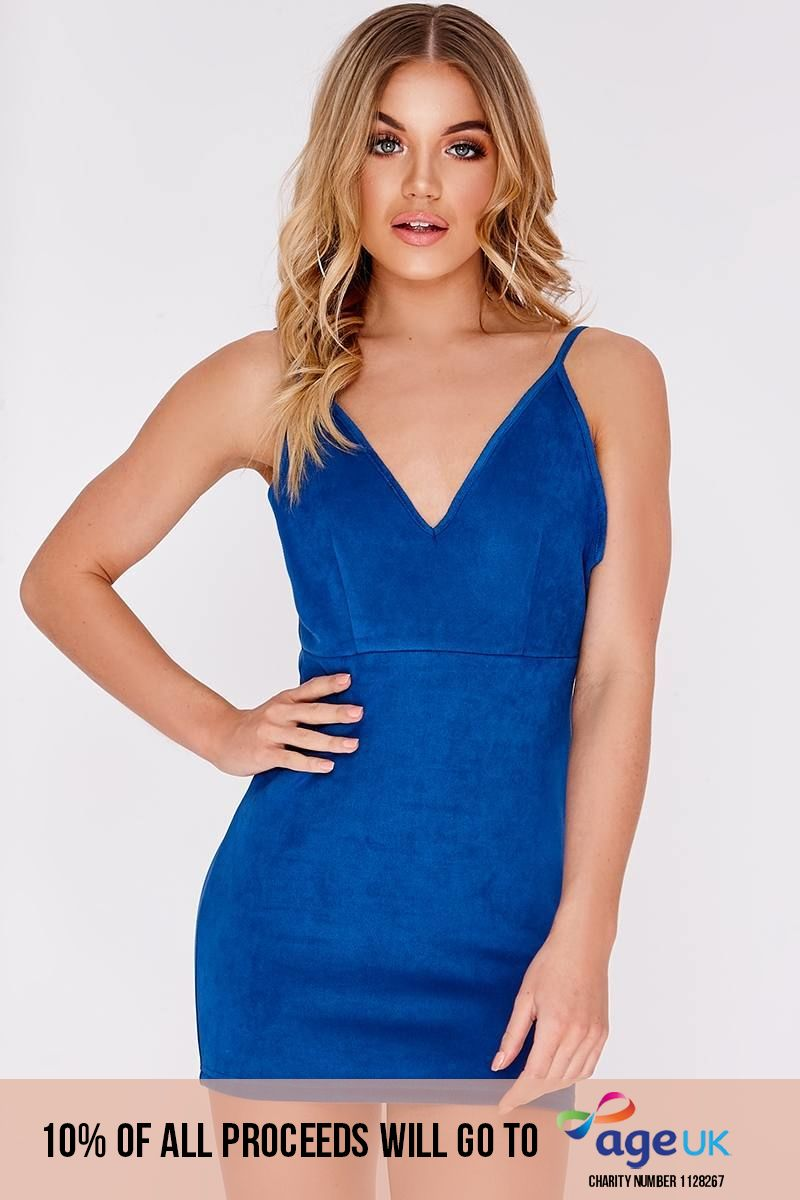 OLIVIA ATTWOOD COBALT FAUX SUEDE PLUNGE RUCHED BACK BODYCON DRESS
