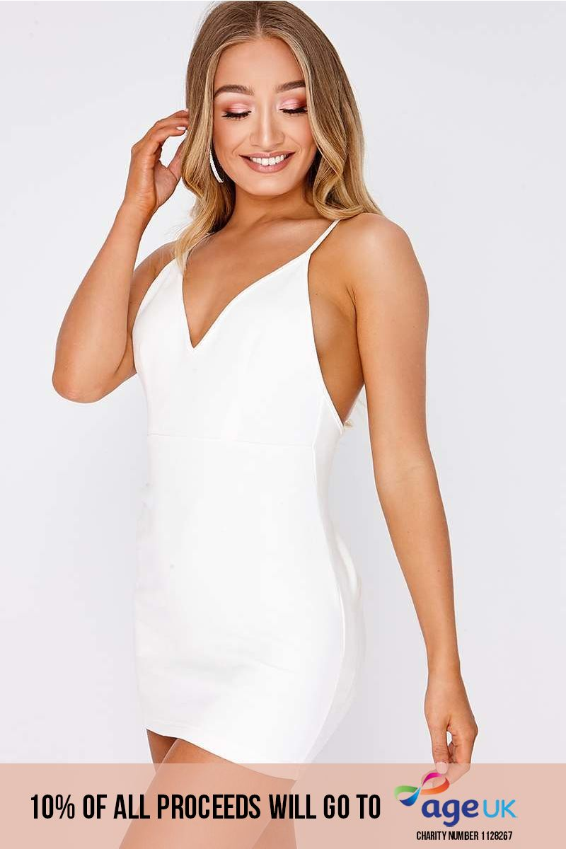 white faux suede plunge ruched back bodycon dress