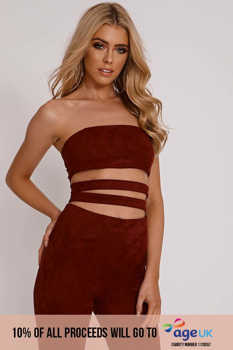 OLIVIA ATTWOOD BURGUNDY FAUX SUEDE BANDEAU STRAP DETAIL TOP