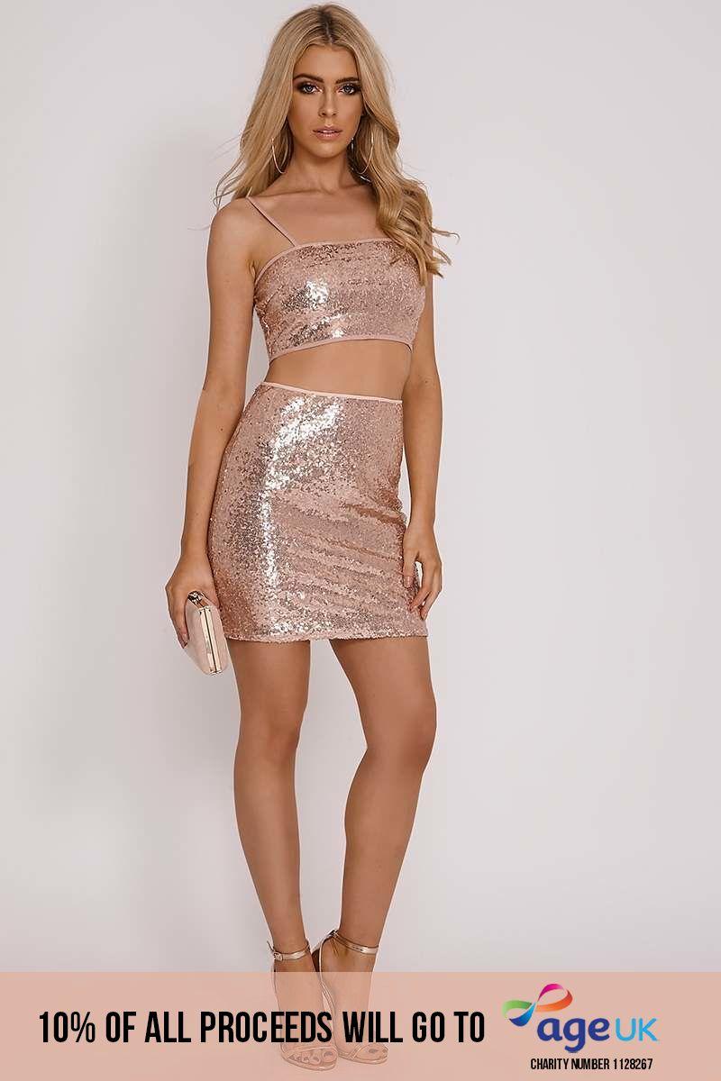 attwood rose gold sequin mini skirt