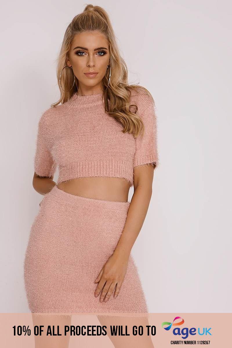 attwood pink eyelash knit cropped jumper