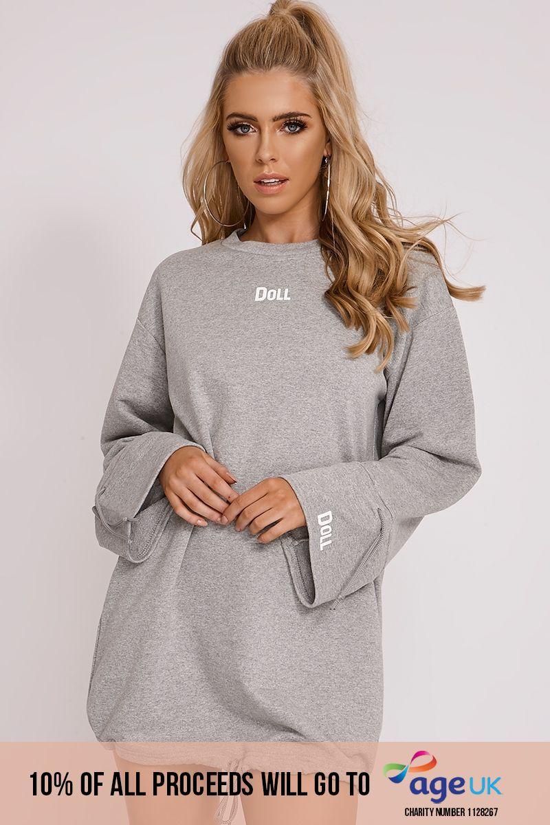 attwood grey 'doll' oversized wide sleeve jumper dress