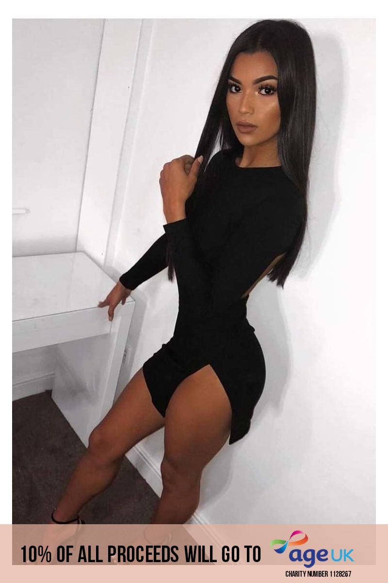 black faux suede cut out back mini dress