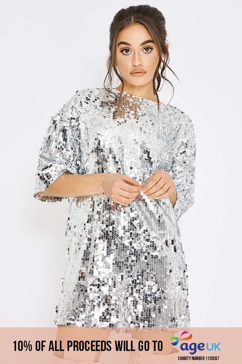 silver sequin oversized t shirt dress