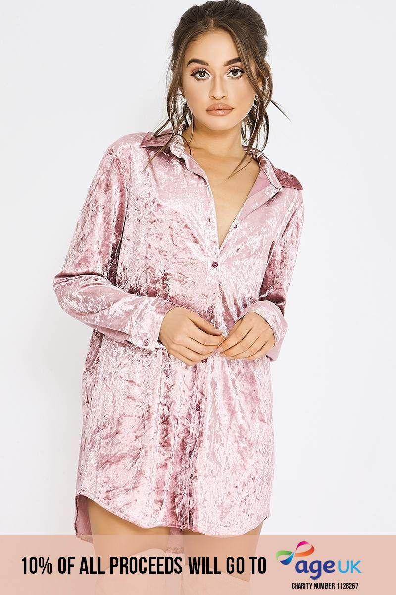 pink velvet shirt dress